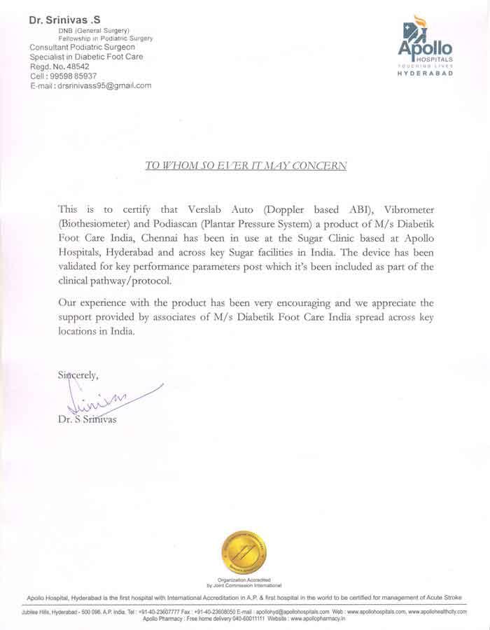 Written Testimonials Diabetik Foot Care India Pvt Ltd